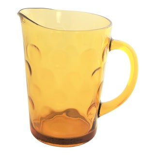 1960's Vintage Kitchenware Glass Large Yellow Amber Polka Dot Glass Pitcher For Sale