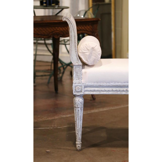 19th Century French Louis Philippe Carved and Painted Banquette With Back For Sale - Image 4 of 9