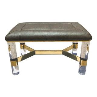 Karl Springer Lucite Brass Faux Shagreen Bench For Sale