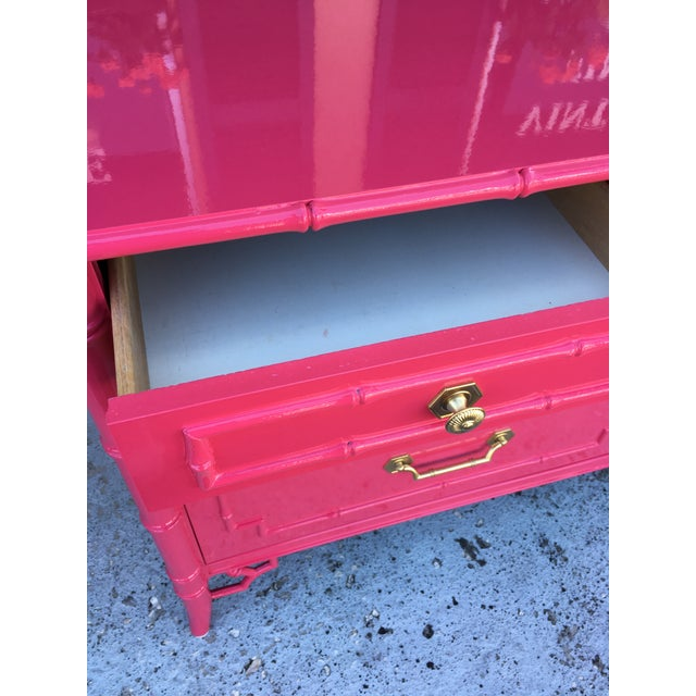 1960s Faux Bamboo High Gloss Pink Dresser For Sale - Image 5 of 7