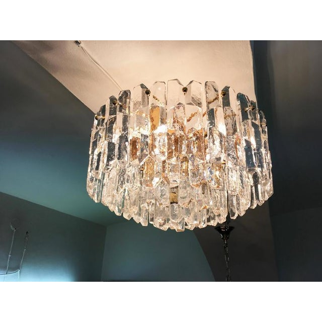 Brass Large Palazzo Frosted Glass Chandelier by JT Kalmar, 1970s For Sale - Image 7 of 11