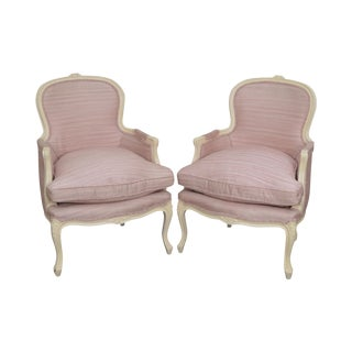 French Louis XV Style Paint Frame Bergere Chairs - A Pair