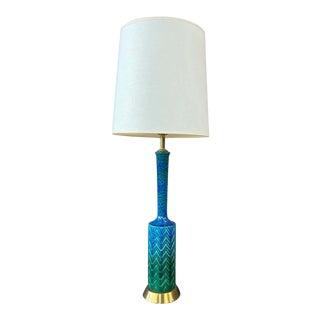 Italian Aldo Londi for Bitossi-Style Blue-Green Glazed Ceramic Table Lamp, 1960s For Sale