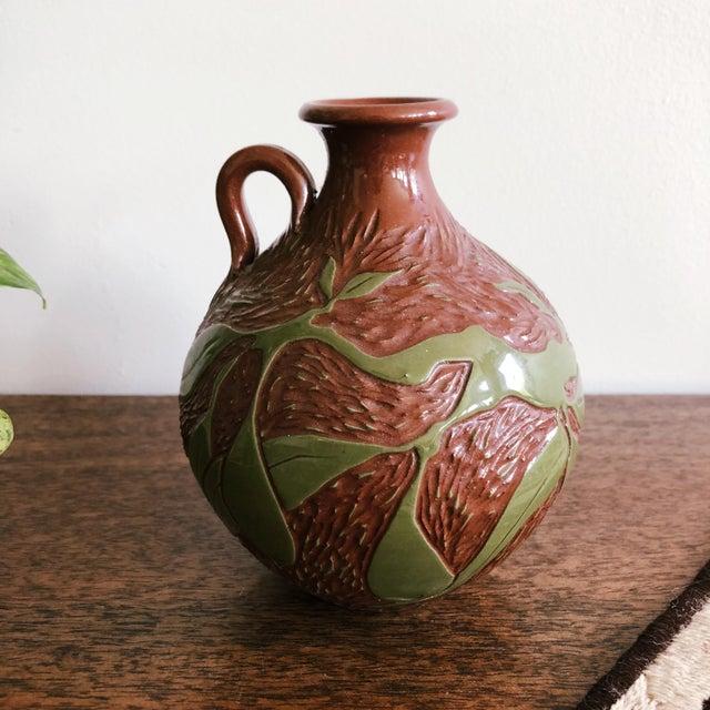 Vintage Ceramic With Carved Leaves Bud Vase or Olive Oil Jug For Sale - Image 4 of 6