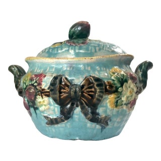 Antique Majolica Strawberry and Floral Sugar Bowl For Sale