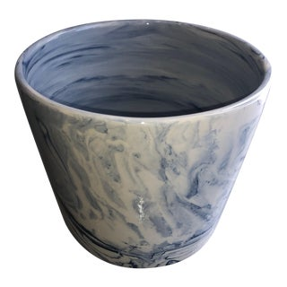 Small Tozai Home Blue Terre Melee Cylinder Cachepot For Sale