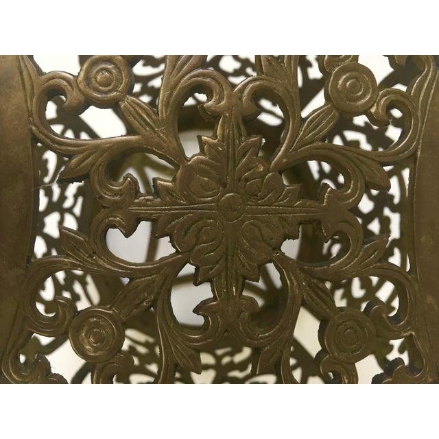 Asian Brass Filigree Garden Stool - Image 5 of 5
