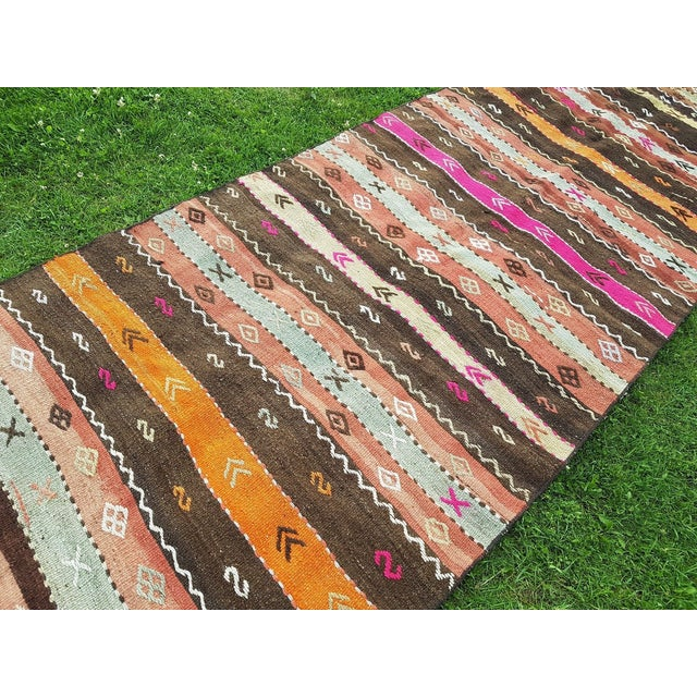 1980s Turkish Kilim Rug Runner - 3′7″ × 10′1″ For Sale In Dallas - Image 6 of 9