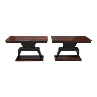 1940s French Art Deco Macassar Ebony Console Tables - a Pair For Sale