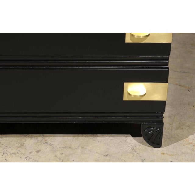 Metal Restored Widdicomb Modern Commode in Black Lacquer For Sale - Image 7 of 11