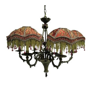 Kathleen Caid Hand Made Brass Chandelier with Beaded Victorian Shades For Sale