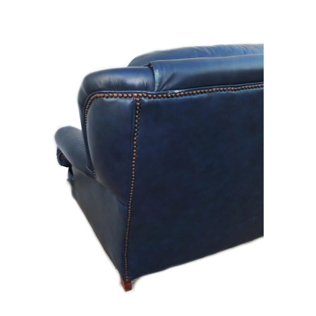 Vintage Tufted Blue Leather Chesterfield Sofa - Image 7 of 7