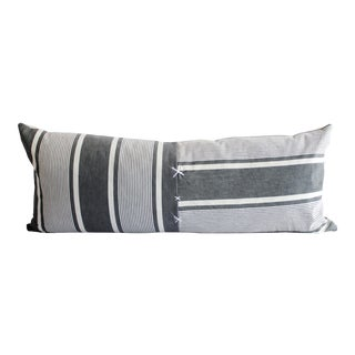 Antique French Ticking Stripe Lumbar Pillow Faded Black and White For Sale