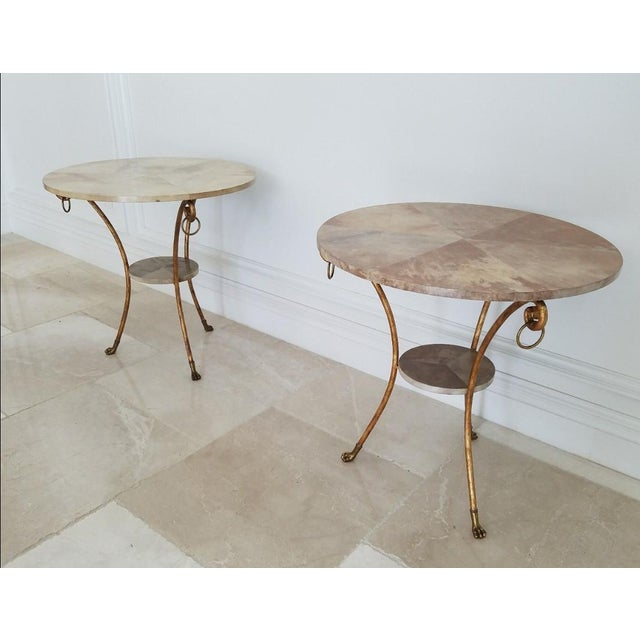 Parcel Gilt Wrought Iron and Goat Skin Tables - a Pair For Sale - Image 13 of 13