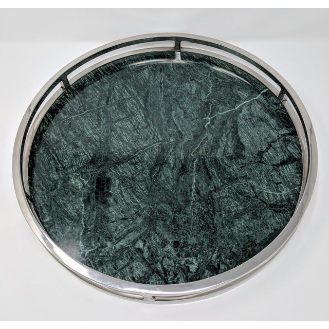 Jonathan Adler Inspired Green Marble and Chrome Serving Tray For Sale - Image 9 of 10
