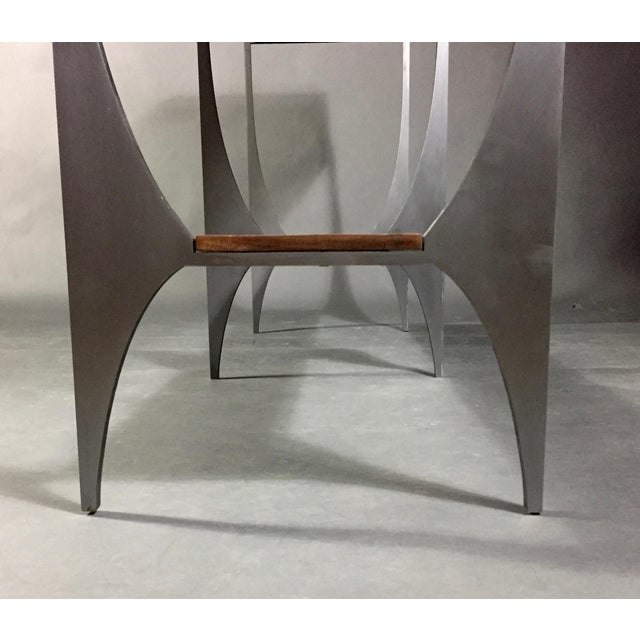 Richard Vellosso Walnut & Steel Console Table, Usa For Sale - Image 4 of 13
