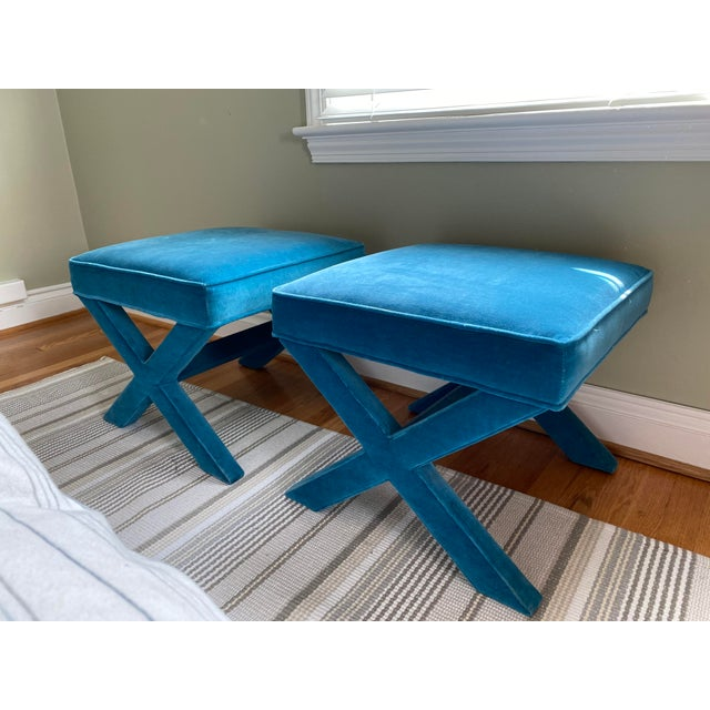 Textile Jonathan Adler X Benches in Venice Peacock - a Pair For Sale - Image 7 of 7
