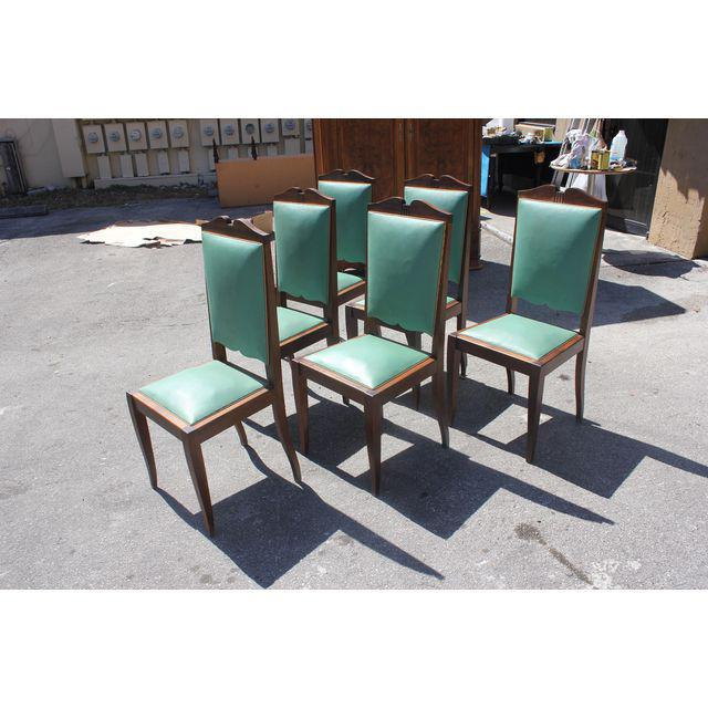 1940s French Art Deco Solid Mahogany by Jules Leleu Dining Chairs - Set of 6 - Image 4 of 12