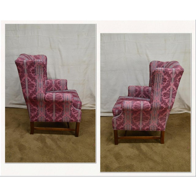 *STORE ITEM #: 18228-ax Ethan Allen Chippendale Style Cherry Clean Upholstered Wing Chair AGE / ORIGIN: Approx. 20 years,...