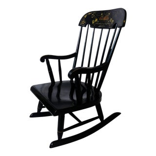 Black Stenciled 1900s Hitchcock Rocking Chair for Children For Sale