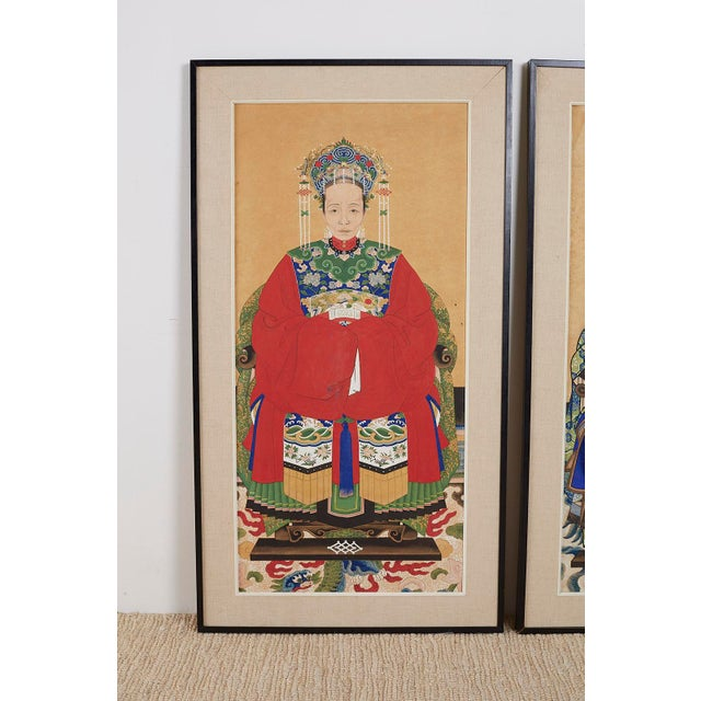 Chinese Pair of Chinese Patriarch Matriarch Ancestral Portraits For Sale - Image 3 of 13