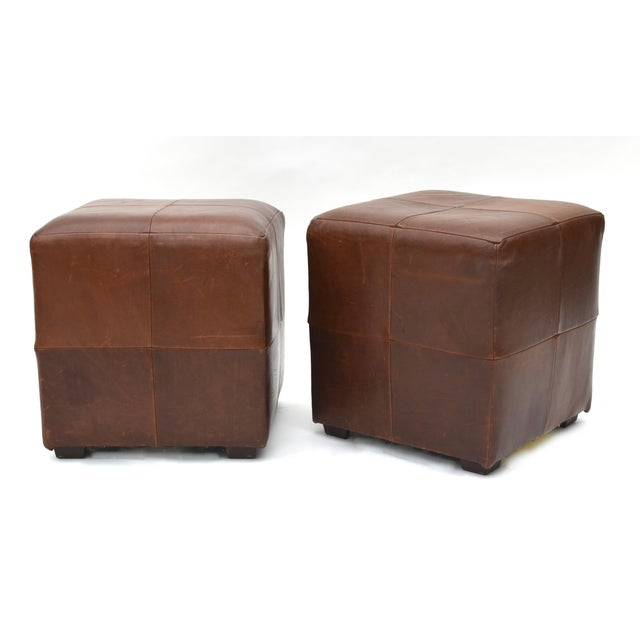 Mitchell Gold for Restoration Hardware leather cube stools ottoman pair. Simple clean and so versatile with beautiful soft...
