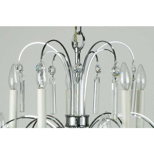 Metal Italian Chrome & Crystal Ten-Arm Waterfall Chandelier For Sale - Image 7 of 8