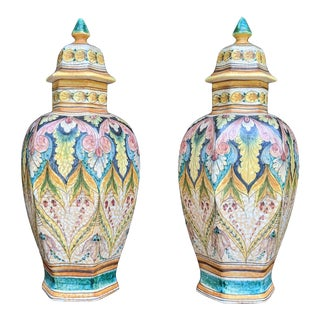 Hand-Painted Italian Lidded Urns- a Pair For Sale