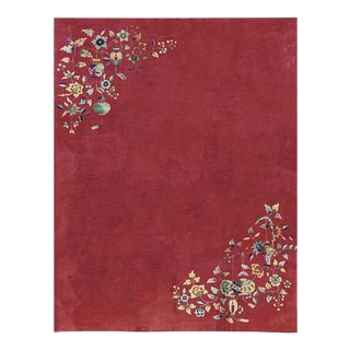Contemporary Hand Woven Red Floral Wool Rug - 8'9 X 11'3 For Sale