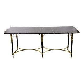 Italian Directoire Style Table With Black Marble Top and Brass Base For Sale