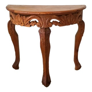 Stunning Hand Carved Pine Wood Demi Lune Console Table . For Sale