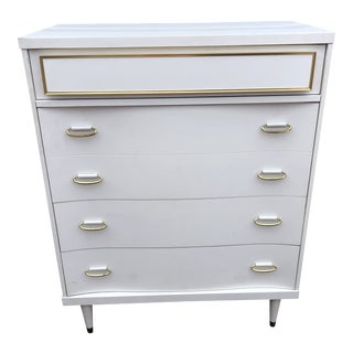 Vintage Bassett Mid Century Modern White and Gold Chest of Drawers Dresser For Sale