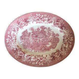 Wedgwood Pink Transferware Ceramic Platter For Sale