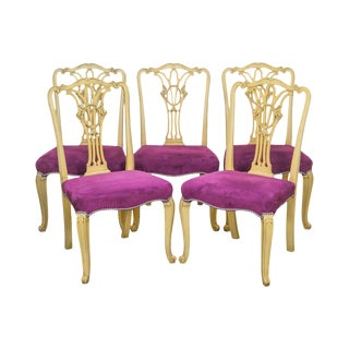 French Louis XV Style Vintage Set of 5 Custom Painted Dining Chairs