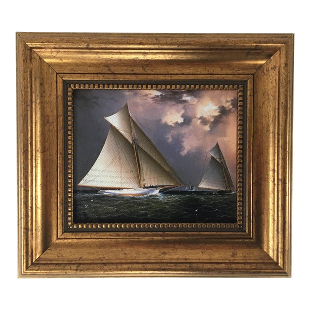 America's Cup Sailing Ships Framed Reproduction Painting For Sale