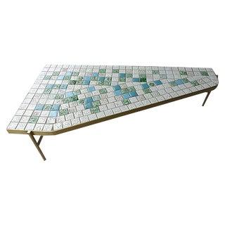 Mid-Century Modern Brass & Tile Coffee Table