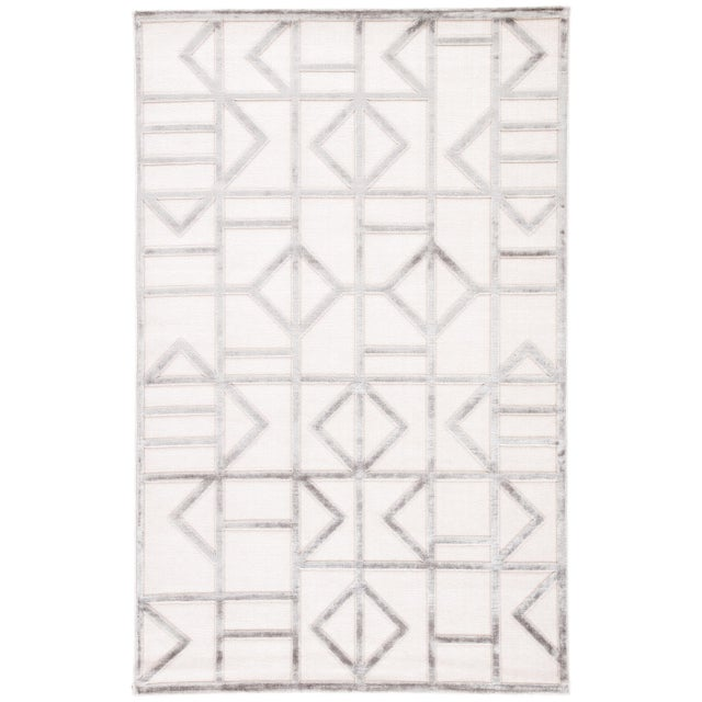 Jaipur Living Cannon Geometric White/ Silver Area Rug - 7′6″ × 9′6″ For Sale In Atlanta - Image 6 of 6
