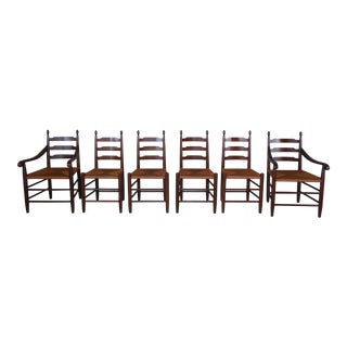 Set of 6 Cherry Ladder Back Rush Bottom Chairs For Sale