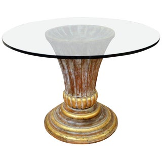 Glass Top Round Centre Table with Urn Base in Wood Composite with Gilt Accent