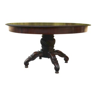 Antique 19th Century English Mahogany Round Dining Table For Sale