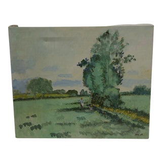 """20th Century Contemporary Original Framed Painting on Canvas, """"Tending the Field"""" by Frederick McDuff"""