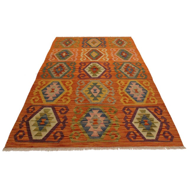 Asian Edie Rust/Ivory Hand-Woven Kilim Wool Rug -4'2 X 5'9 For Sale - Image 3 of 8