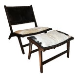 Image of Hide and Wood Lounge Chair and Ottoman For Sale