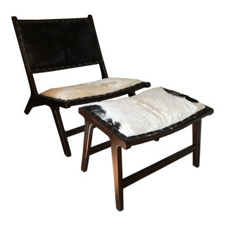 Hide and Wood Lounge Chair and Ottoman For Sale