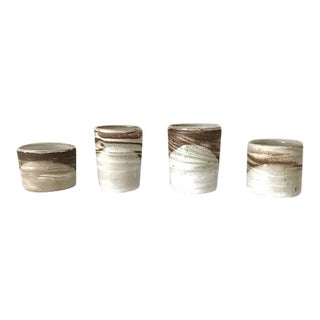 Agate Ware Brown and White Swirl Ceramic Cups - Set of 4 For Sale