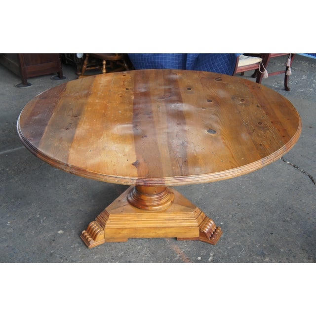 Rustic Ralph Lauren Distressed Pine Pedestal Table For Sale - Image 13 of 13