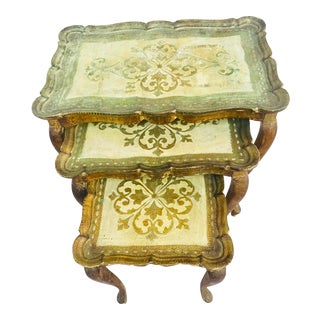 1960s Italian Florentine Nesting Tables - Set of 3 For Sale