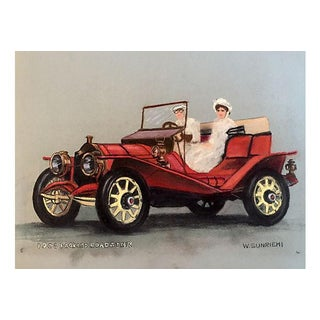 1908 Packard Roadster Pastel Drawing C.1950 For Sale
