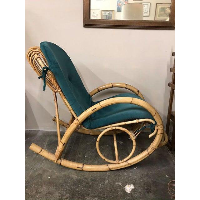 Franco Albini 1960s Franco Albini Rattan Bamboo Rocking Chair For Sale - Image 4 of 11