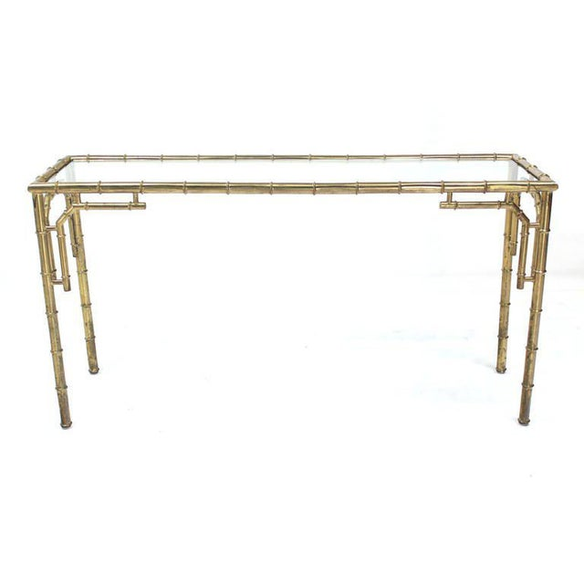 Vintage Mid Century Faux Bamboo Metal and Glass Console For Sale - Image 4 of 7